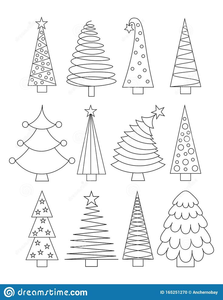 Illustration About Set Of Line Art Christmas Trees Outline Collection Of Xmas Sign Stylized L In 2020 Christmas Tree Drawing Christmas Tree Outline Christmas Drawing