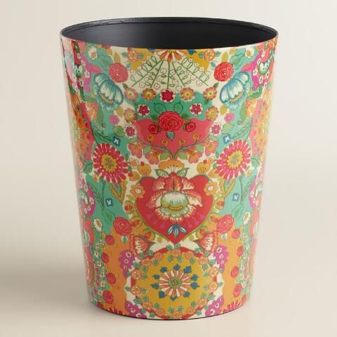 Crafted of iron with our floral pattern and a glossy coating, our exclusive bathroom trash can features a kaleidoscope of bright coral, aqua and yellow tones in an intricate medallion motif.