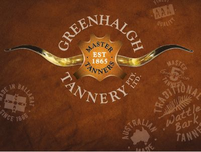 Rodney Pike Design. Corporate identity: Greenhalgh Tannery.  One of just a handful of operating tanneries left in Australia. For over 5 generations, the Greenhalgh family have proudly produced world class wattle bark tanned leather for the saddlery trade as well as leather for the craft enthusiast. This design project was a simple 'refresh' of Ross Greenhalgh's great original logo design and promotional items. Another Rodney Pike Design