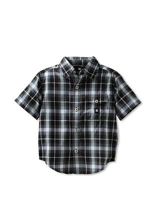 71% OFF DC Boy's Jocko Short Sleeve Button-Up (Black Plaid)
