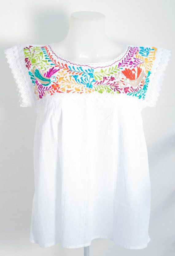Mexican Blouse from Oaxaca hand embroidery sell by MexicanTraditional at Etsy