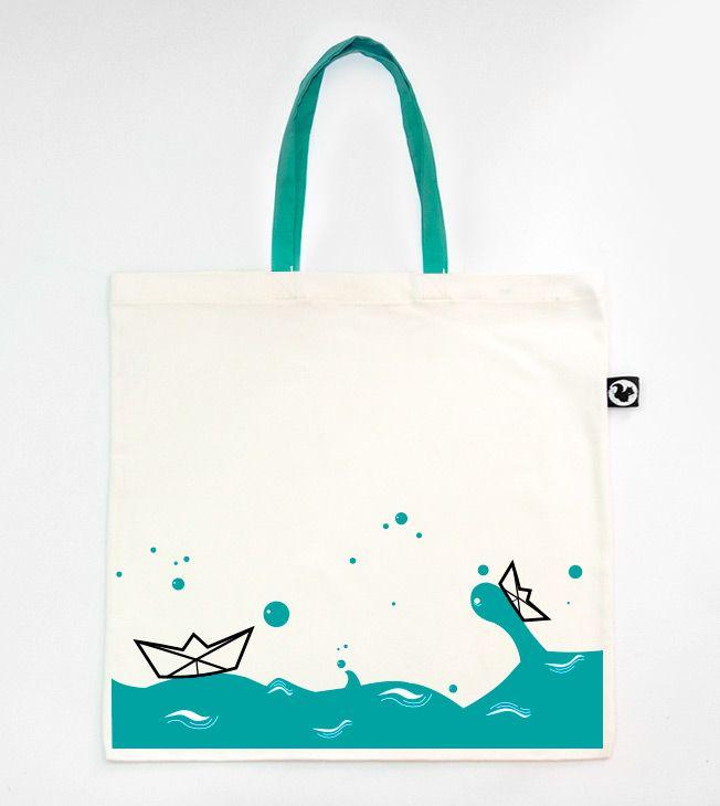 MAXI TOTE BAG (45x45cm) - Origami  #totebags #totebag #serigrafia #serigraphy #silkscreenprinting #aqua #colour #verde #origami #water #boat #handmade #bolso #tela