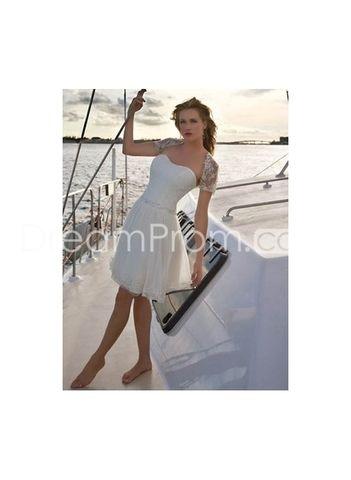 US $133.19 Hot Sell Chiffon Strapless Mini Skirt Beach Bridal Wedding Dresses
