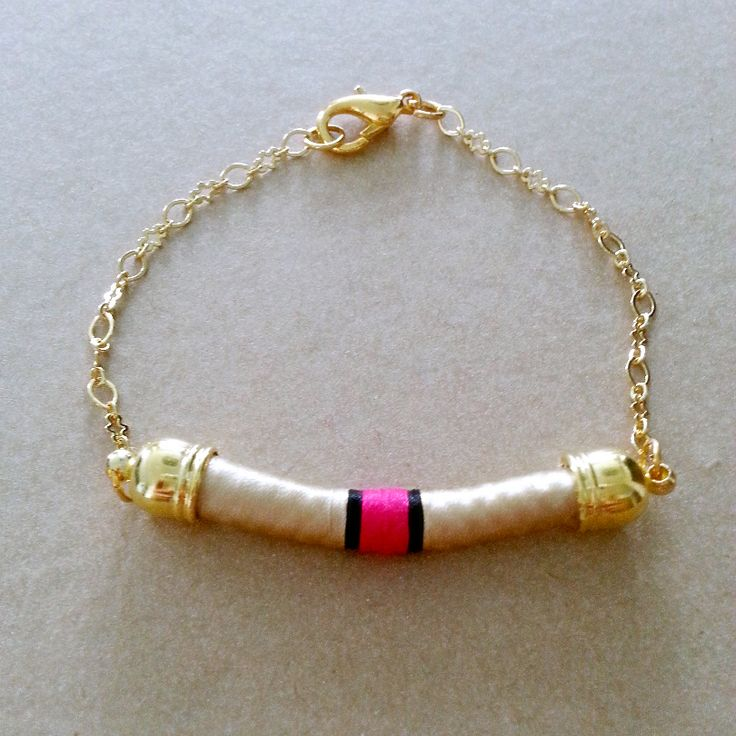 Gold & Fuschia Bracelet with Gold Chain