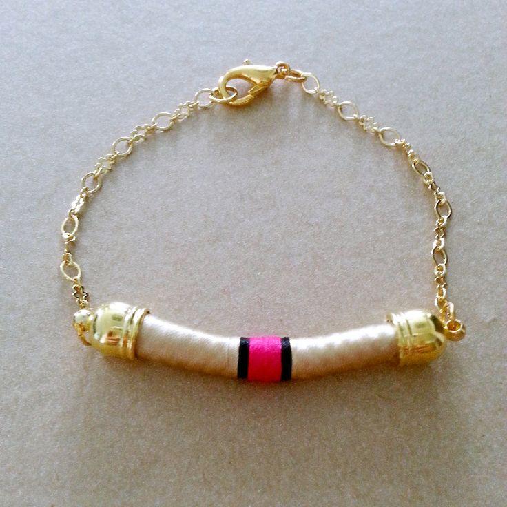 Gold & Fuschia Bracelet with Gold Chain