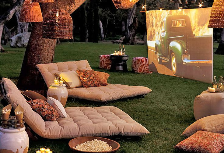 Build A Backyard Movie Theater - Lots of ideas and tutorials including this one from pottery barn.