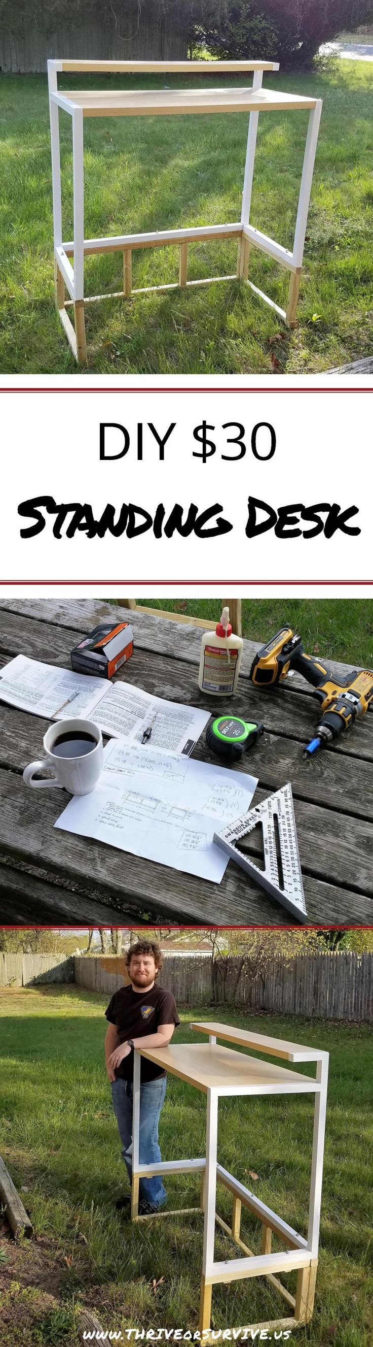 DIY Standing Desk Transformation- Only $30! @www.thriveorsurvive.us