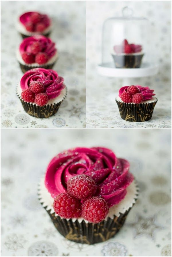 CHAMPAGNE AND RASPBERRY CUPCAKES .