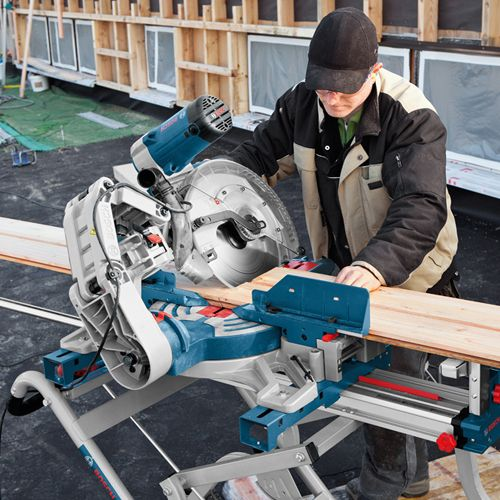 Bosch GCM12GDL Axial-Glide Sliding Compound Mitre Saw with Double bevel - provides the smoothest and most precise mitre cut you can get!