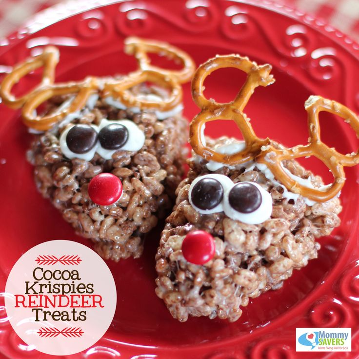 Super cute rice crispy reindeer treats! Perfect for the holidays. Now all we need is the snow and it will be a festive holiday season!