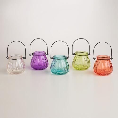 Glass Melon Tealight Lantern Candleholders, Set of 6   World Market {hanging desk organizer boatd}