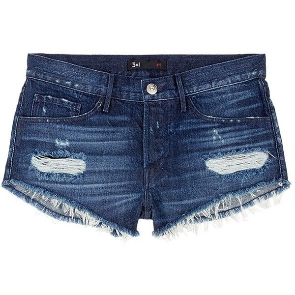3x1 'WM5' cutoff denim shorts ($195) ❤ liked on Polyvore featuring shorts, blue, destroyed jean shorts, frayed jean shorts, blue jean shorts, distressed shorts and cut-off shorts