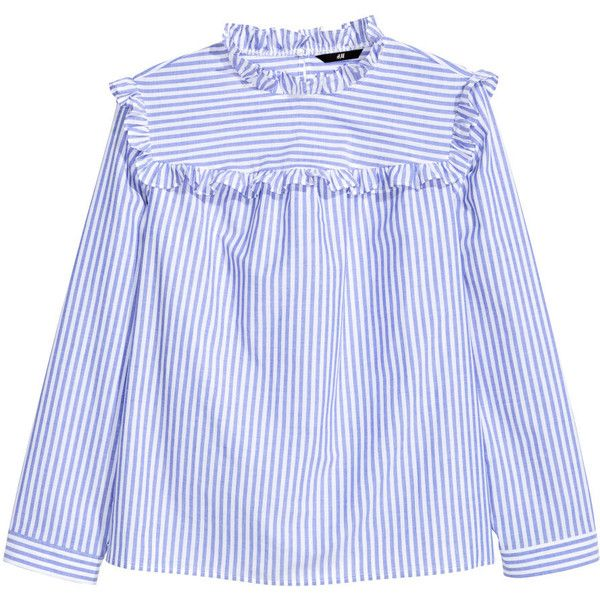 H&M+ Cotton Blouse $49.99 (185 ILS) ❤ liked on Polyvore featuring tops, blouses, ruffle collar blouse, h&m blouse, flutter-sleeve top, frilly blouse and ruffle blouse