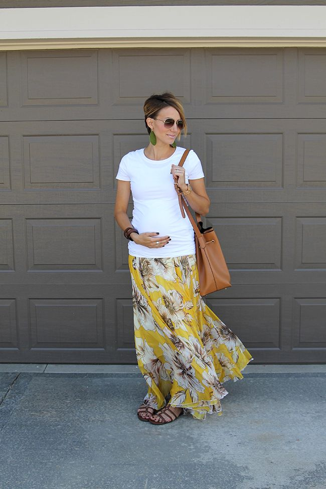 ONE little MOMMA: Sunday Style- White Tee and Maxi Skirt Maternity Style