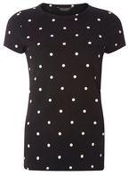 Womens Black Polka Dot T-Shirt- Black