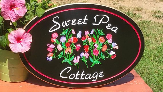 Sweet Pea Cottage Custom Sign  PVC Board Outdoor/Indoor Welcome Sign