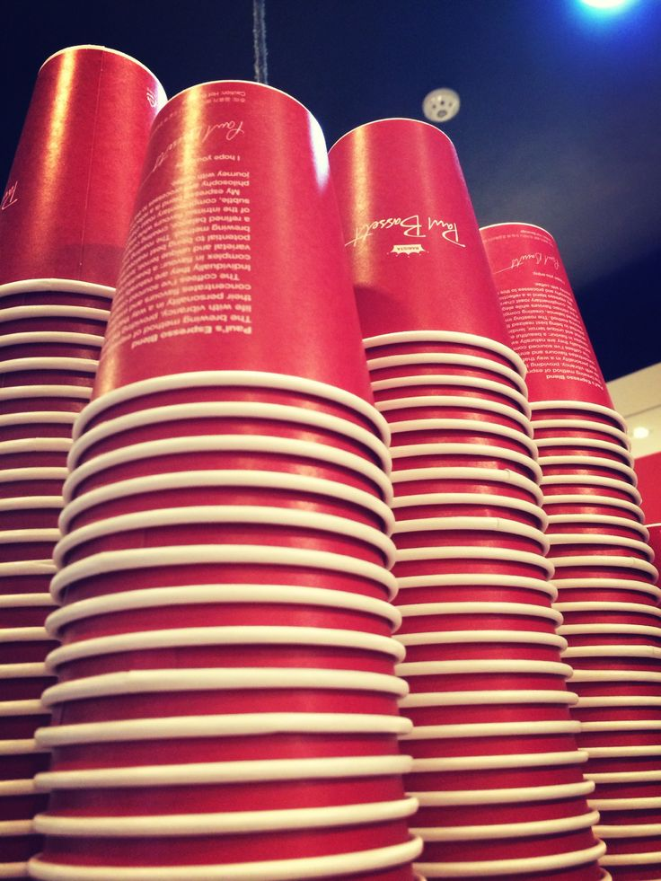 a mountain of red cups