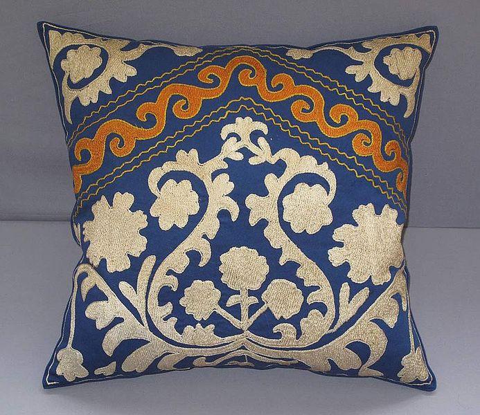 Cushion Covers – Handmade traditional Samarkand pattern Suzani Silk – a unique product by Eastern-gifts on DaWanda