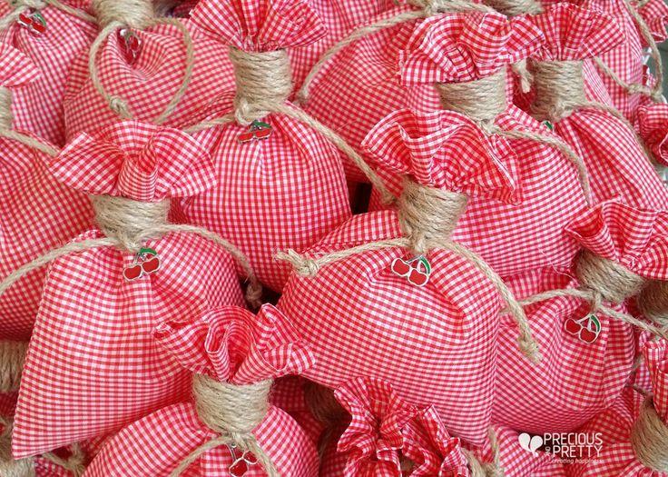 Cherry themed Christening favors and baby shower gifts! #christenings #summer #favors #cherry #babyshower #preciousandpretty