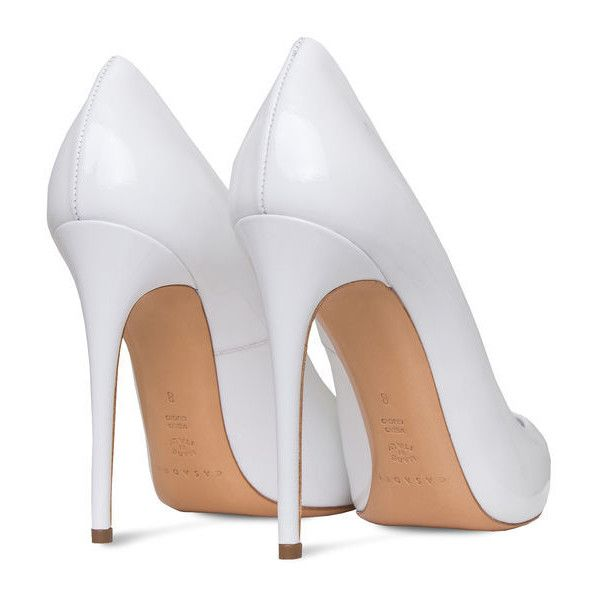 perfect pump ($378) ❤ liked on Polyvore featuring shoes, pumps, heels, patent pumps, pointy toe pumps, white heel shoes, white pumps and white pointy-toe pumps