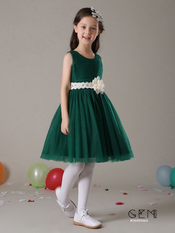 05a3e9621 Short A Line Pleated Tulle Hunter Green Flower Girl Dress with ...