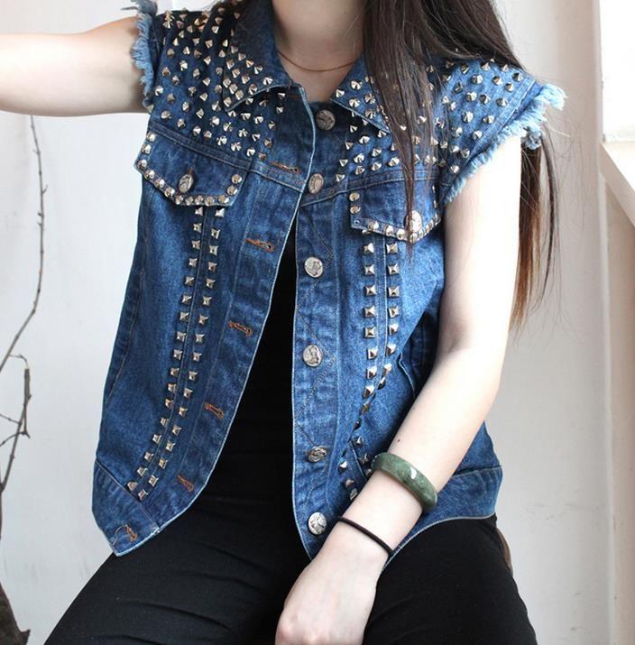Rock dance sexy azul del remache del vaquero chalecos delgados del ajuste para mujer denim sport moda chaqueta estilo de la estrella modern urban XL(China (Mainland))