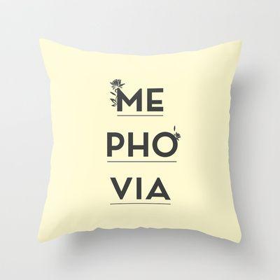 Mephovia Throw Pillow by Spyros Athanassopoulos - $20.00  #mephovia #pillow #typography #fabric