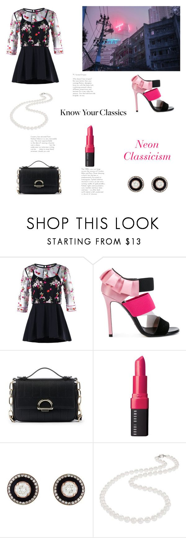 """""""Neon Classicism"""" by yosifova ❤ liked on Polyvore featuring Emilio Pucci, Sole Society, Bobbi Brown Cosmetics, Selim Mouzannar, Nadri, casual, outfit, neon and Elegant"""