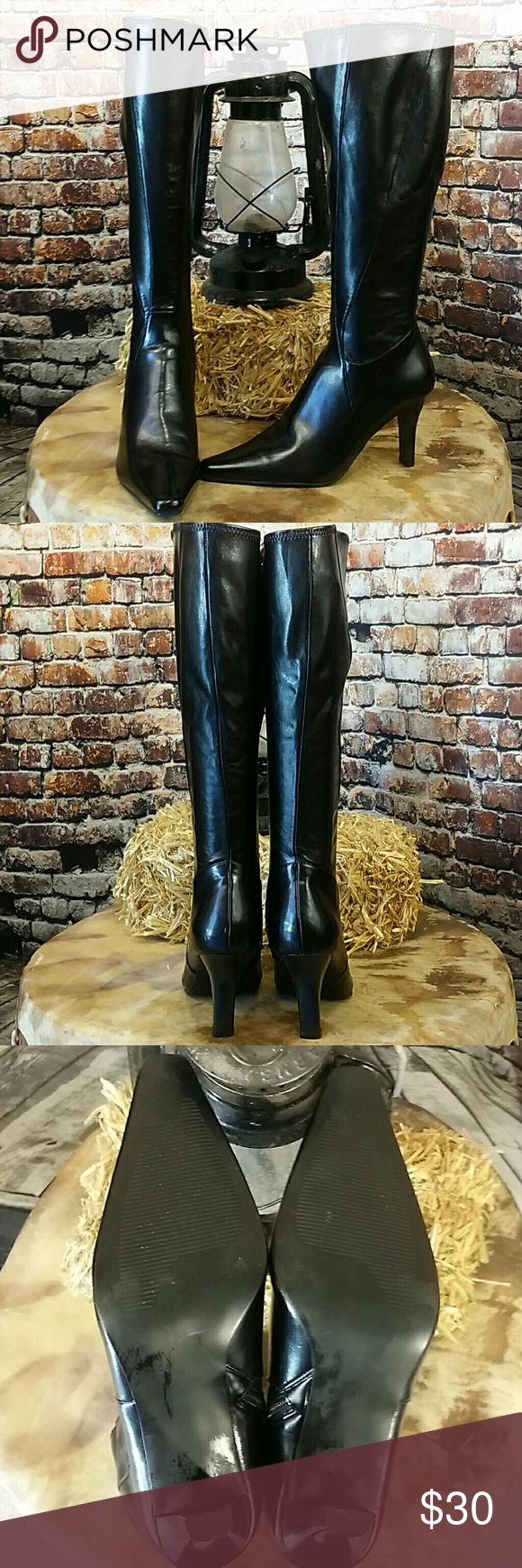 "Sexy Stiletto Black Boots Great pair of winter boots to go with those skinny jeans or a winter skirt. 3.25"" heel. Size 6.5 Ellemenno Shoes Heeled Boots"