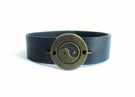 Yin Yang leather bracelet men black leather bracelet mens