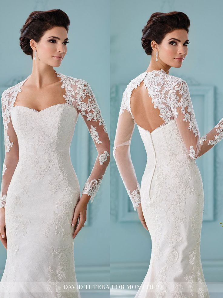 attaches to any strapless dress - lace long sleeve shoulder piece with keyhole back -  Mon Cheri Bridals Style No. SHLDER/SLV