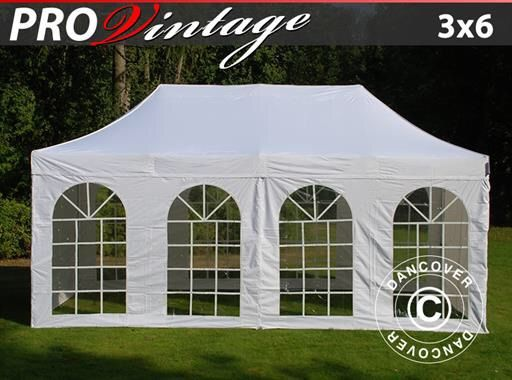 POP UP GAZEBO FLEXTENTS PRO VINTAGE STYLE 3X6 M WHITE, INCL. 6 SIDEWALLS Pop up gazebo FleXtents PRO is a high professional quality pop up gazebo with easy set up in just 60 seconds. Complete set incl. 6 sidewalls, pegs and a practical carry bag with wheels. A flexible, functional and durable pop up gazebo.