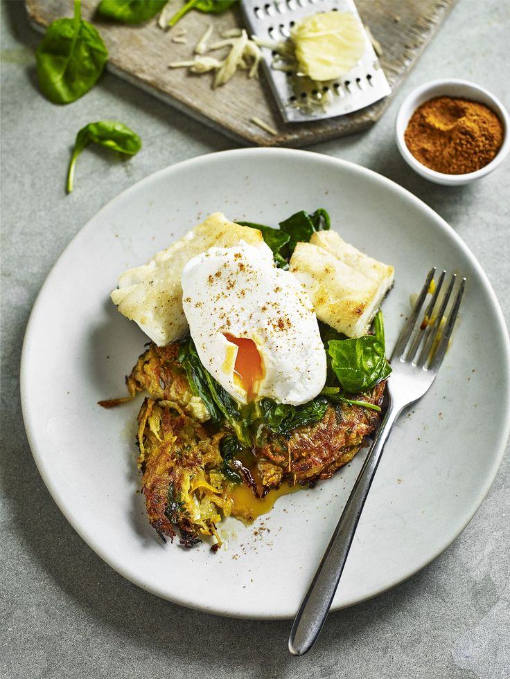 Giving an Indian twist on a classic potato rosti recipe helps gives this recipe a bit of a kick for spice lovers! Perfect for a gluten free and healthy breakfast.