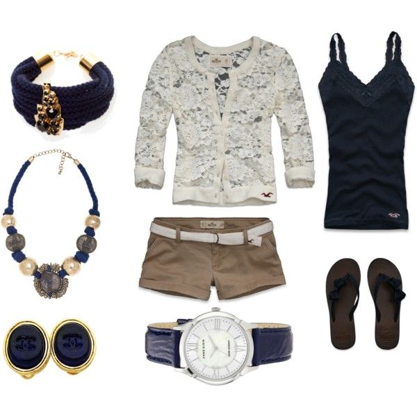 Lace Cardi With Pops of Navy :) Longer khaki shorts and it