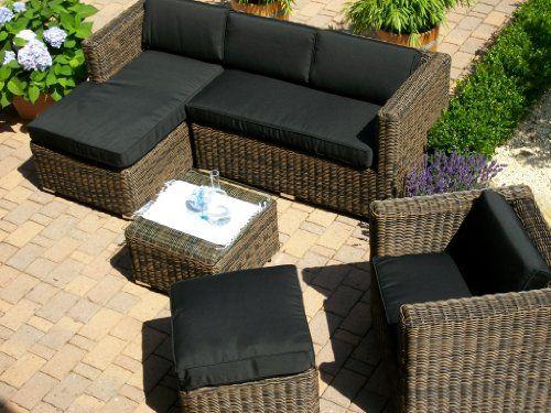 Lounge Wohnlandschaft Sofa Sessel Tisch Hocker Rattan Polyrattan Geflecht  Gartenmöbel Beige Braun Marseille