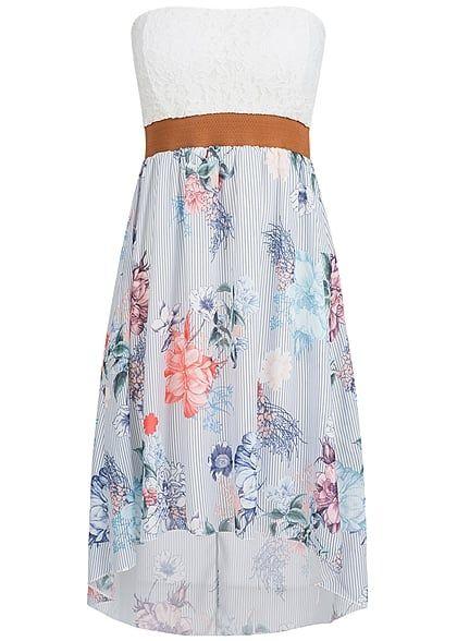 Styleboom Fashion Damen Mini Bandeau Kleid Blumen Muster Spitze Brustpads blau weiss br - Art.-Nr.: 17036096