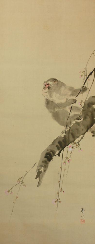 鈴木華邨 『桜猿之図』【掛軸 Hanging scroll】浮世絵・掛軸・書画・骨董・古美術品の販売・鑑定・買取