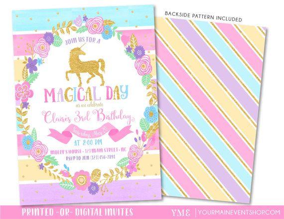 Unicorn Invitation • Rainbow Birthday Invite • Magical Unicorn Rainbow Birthday Invitation Printable