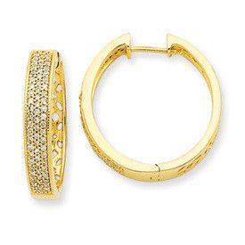14k Yellow Gold Filigree Diamond Hinged Hoop Earrings