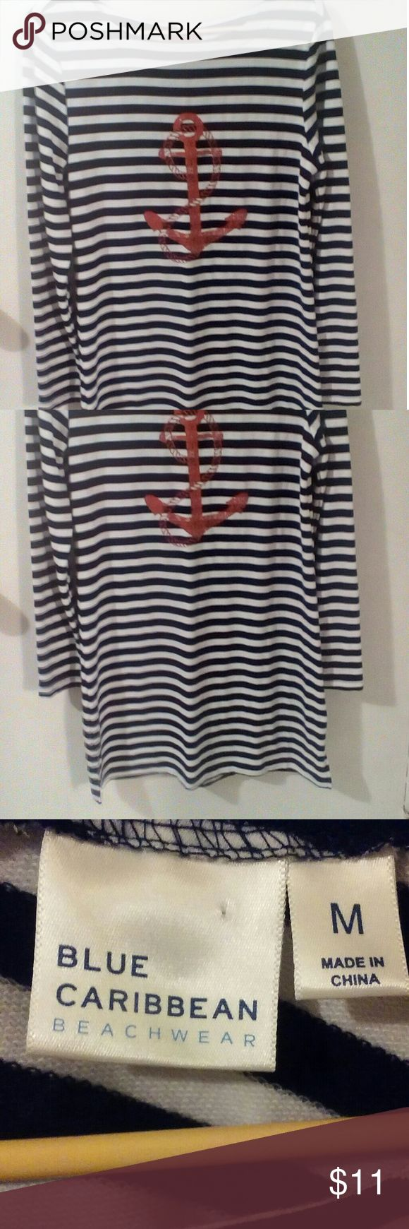 """Striped Dress with Anchor Blue Caribbean Beachwear black and white striped dress with a red anchor on the front. Wide scoop neck, long sleeves. Ties at the back of the neck with a red ribbon. 3"""" slits on either side. Dress is approx 35"""" long. Size M Blue Caribbean and Dresses Long Sleeve"""
