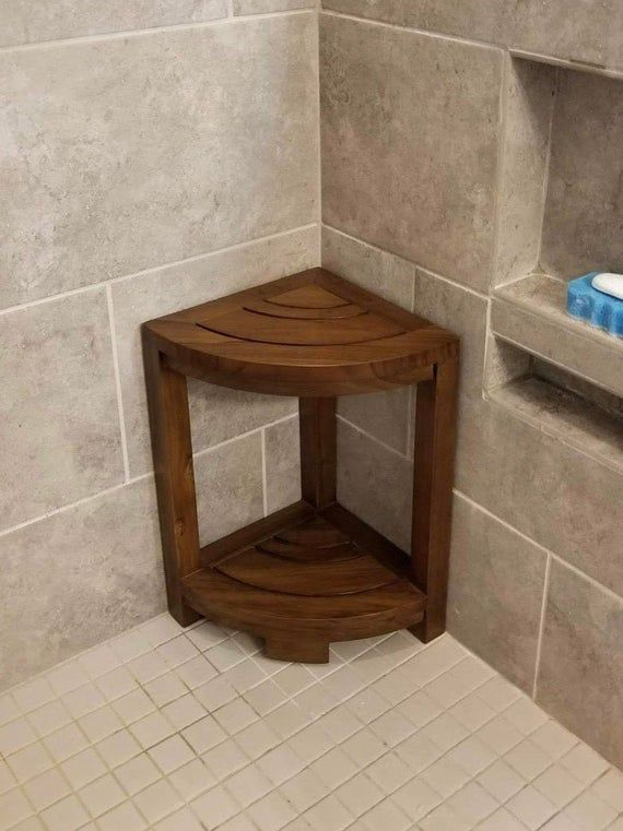 Corner Teak Wood Bath Spa Shower Stool Corner Table Bench Stool