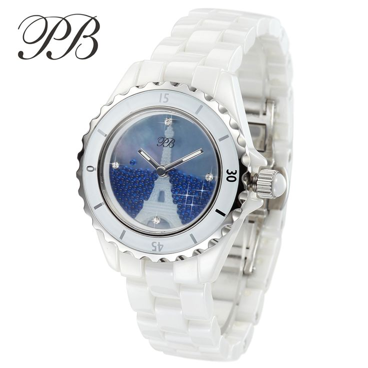 Find More Dress Watches Information about PB Brand Women Swarovski Crystal Luxury White Ceramic Watch Fashion 3D Eiffel Tower Ladies Quartz Watches Woman Waterproof Clock,High Quality clock wooden,China watch finder Suppliers, Cheap clock program from YIKOO fashion watches on Aliexpress.com