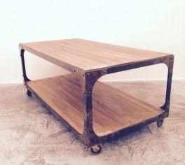 mesa ratona hierro y madera ESTACION ORTIZ