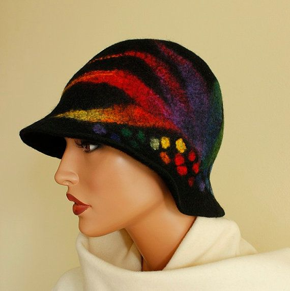 Felt hat black rainbow  multicolor felted hat cloche ♥ by ZiemskaArt