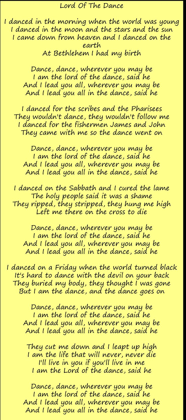 Lyrics Lord of the Dance...Happy Easter!