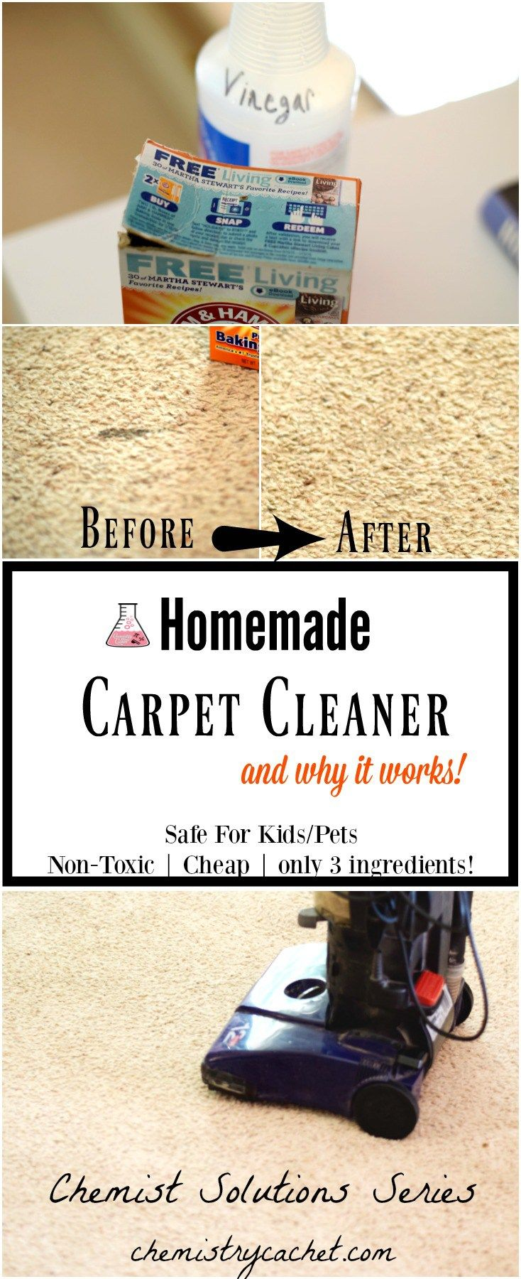 This easy homemade carpet cleaner is effective, safe, and only has 3 ingredients! Also some great information on why it actually works!