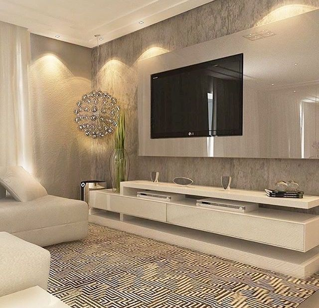luxurious tv unit calm colors white and beej living room