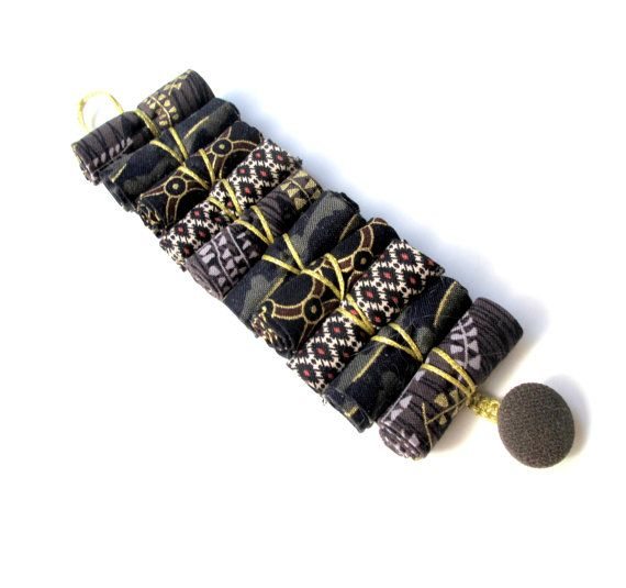 Gold and black urban bracelet fashion fabric urban by Gilgulim