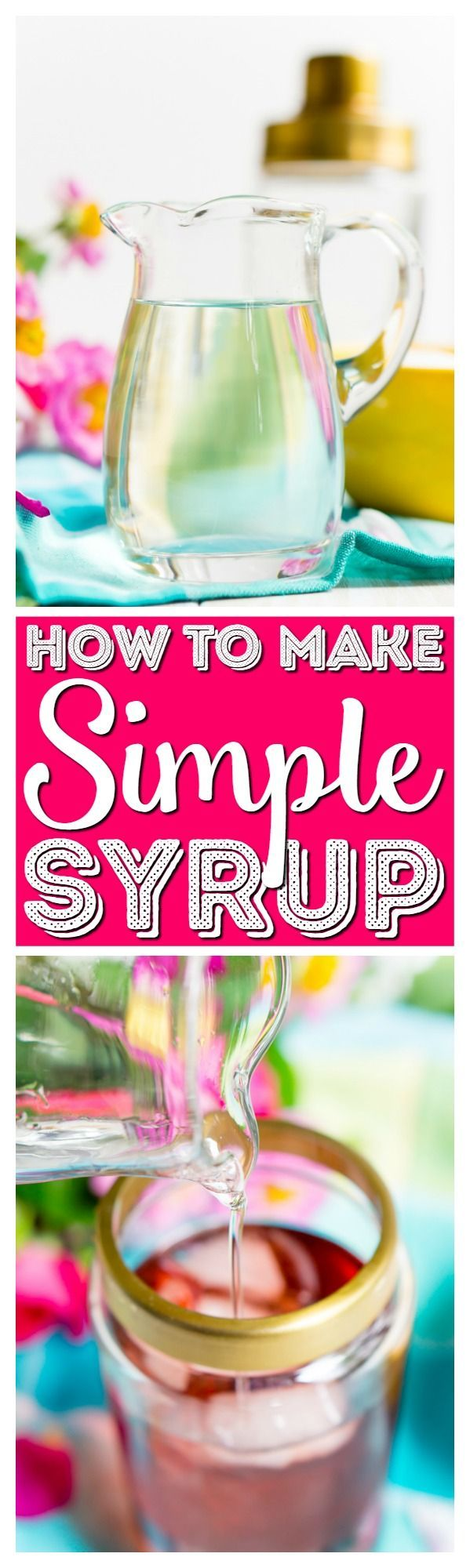 How To Make Simple Syrup at home in minutes with just water and sugar on the stove top. This syrup is the perfect way to sweeten cold drinks. via @sugarandsoulco