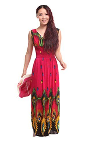 BuyBox Womens Vneck line Peacock Pattern Skirt Beach Dress * You can get additional details at the image link. (This is an affiliate link and I receive a commission for the sales)
